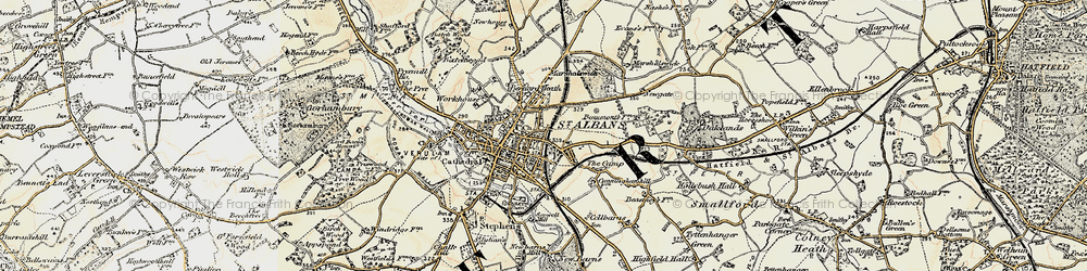 Old map of St Albans in 1898