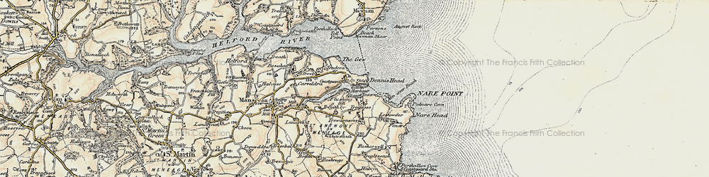 Old map of St Anthony-in-Meneage in 1900