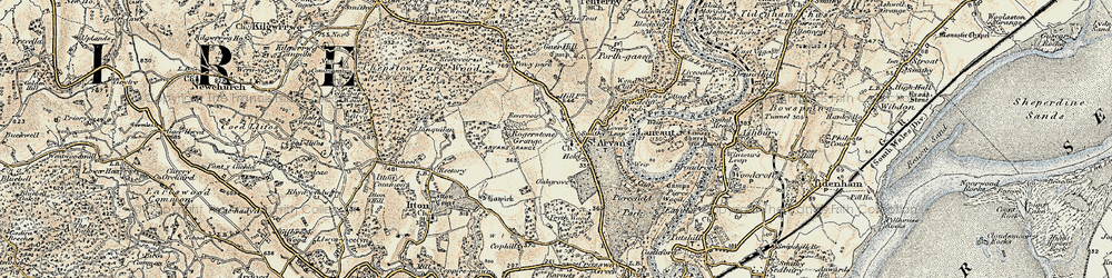 Old map of Wynd Cliff in 1899-1900