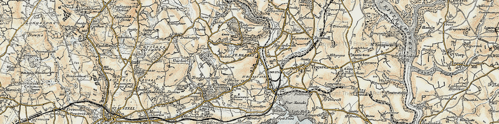 Old map of St Blazey in 1900