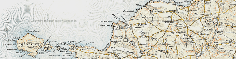 Old map of St Brides in 0-1912