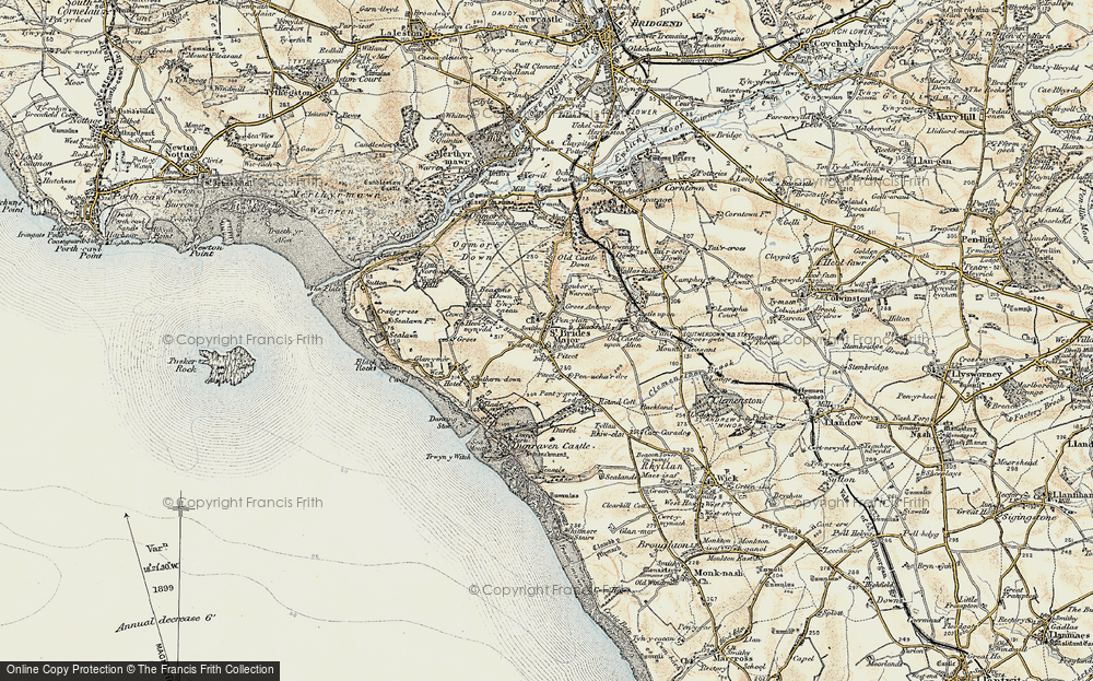 Old Map of St Brides Major, 1900 in 1900