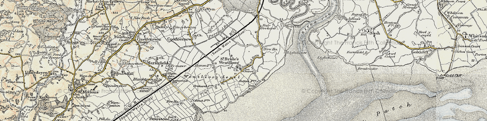 Old map of West Usk Lighthouse in 1899-1900