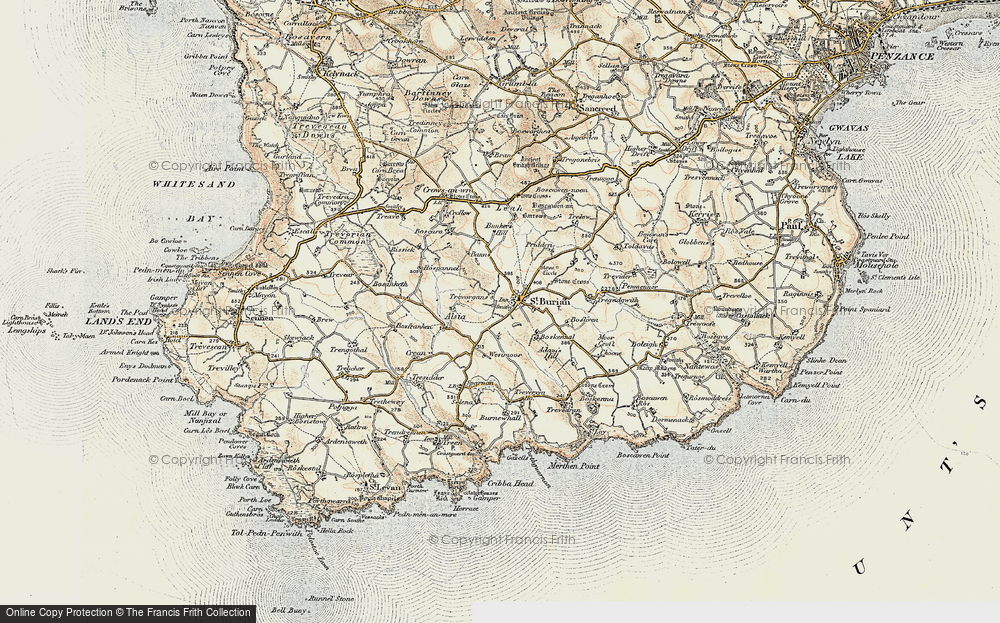 Old Map of St Buryan, 1900 in 1900