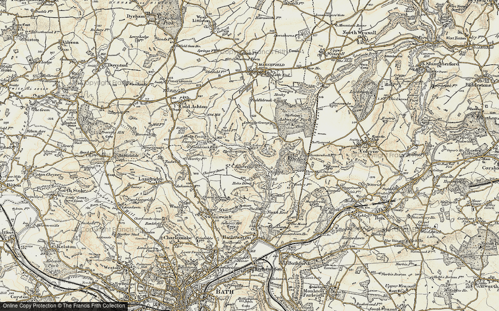 Old Map of Historic Map covering Ashwicke Grange in 1899