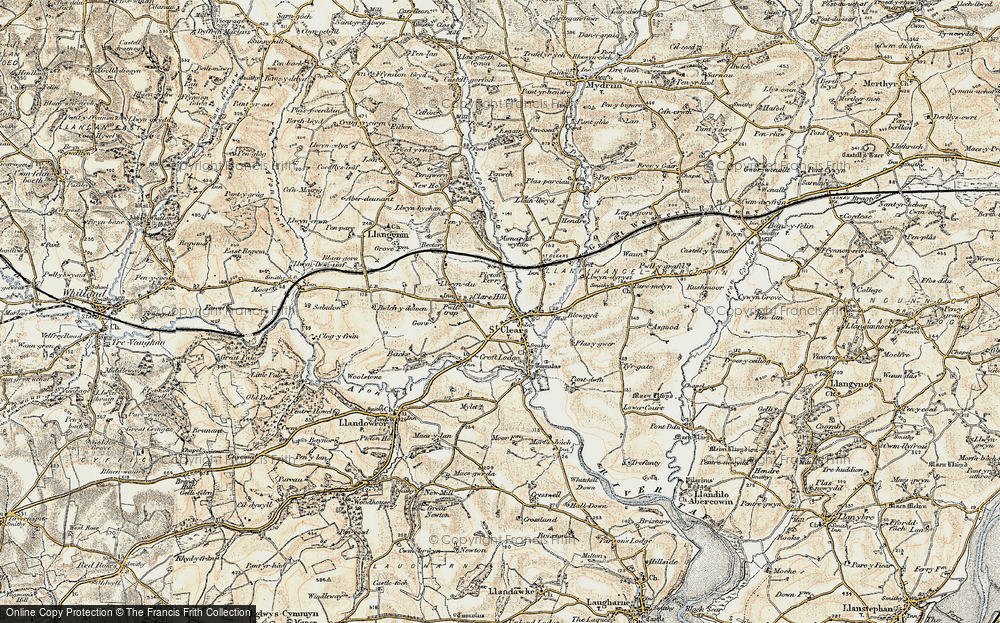 Old Map of Historic Map covering Afon Dewi Fawr in 1901