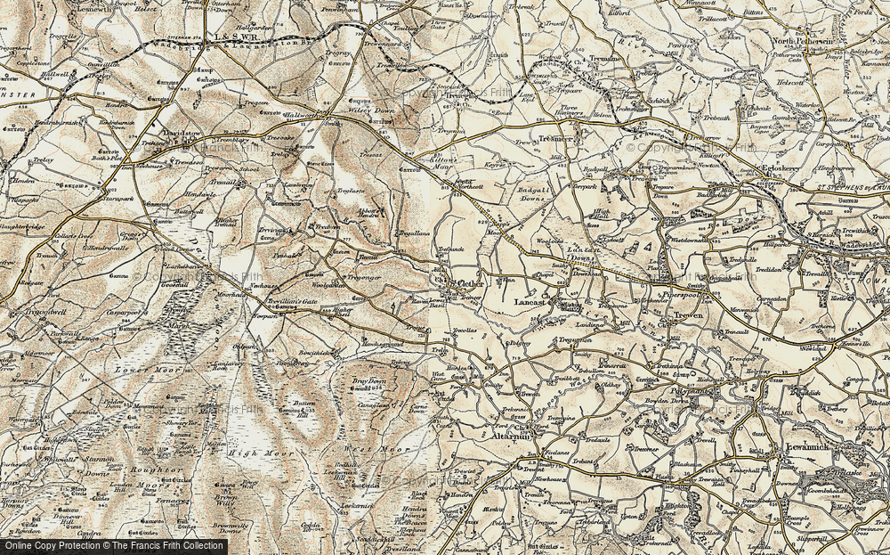 Old Map of Historic Map covering Abbott's Hendra in 1900