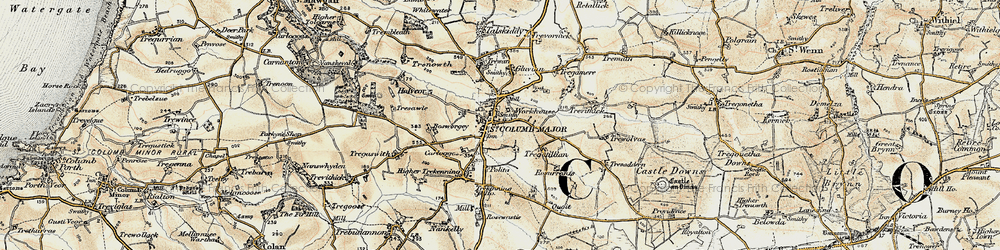 Old map of St Columb Major in 1900