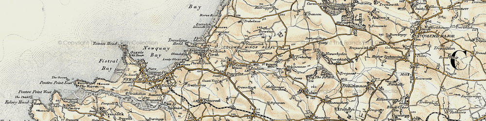 Old map of St Columb Minor in 1900