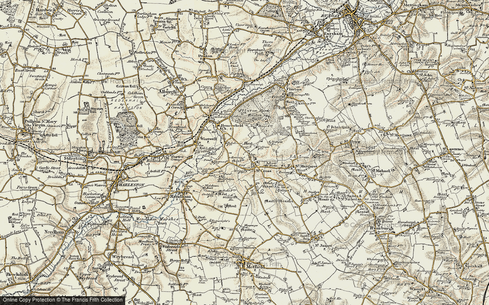 Old Map of St Cross South Elmham, 1901-1902 in 1901-1902