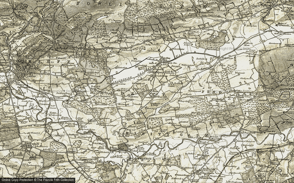 Old Map of Historic Map covering Woodmouth in 1906-1908