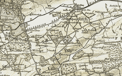 Old map of Woodmouth in 1906-1908