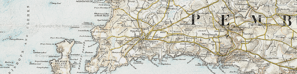 Old map of St Davids in 0-1912