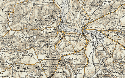 Old map of St Dogmaels in 1901