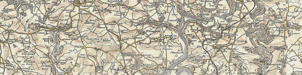 Old map of Burraton in 1899-1900