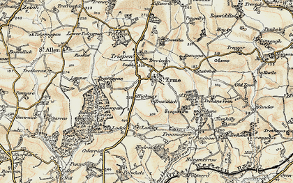 Old map of St Erme in 1900