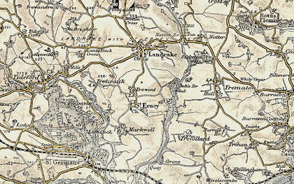 Old map of St Erney in 1899-1900