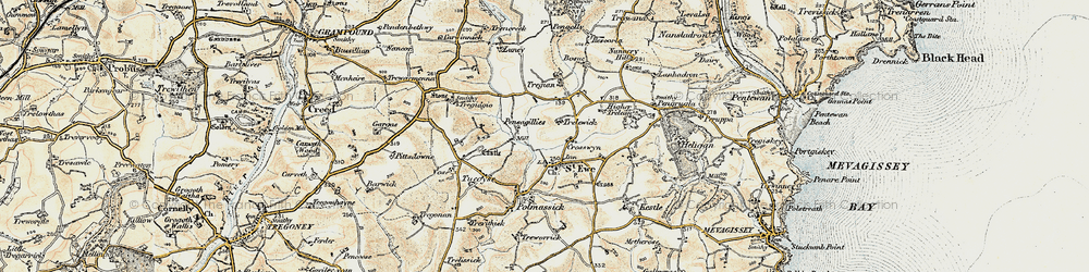 Old map of St Ewe in 1900