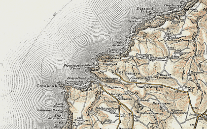 Old map of St Gennys in 1900
