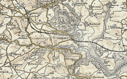 Old map of St Germans in 1899-1900