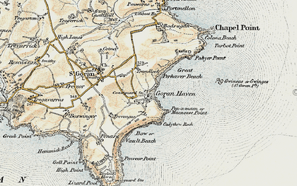 Old map of St Goran in 1900