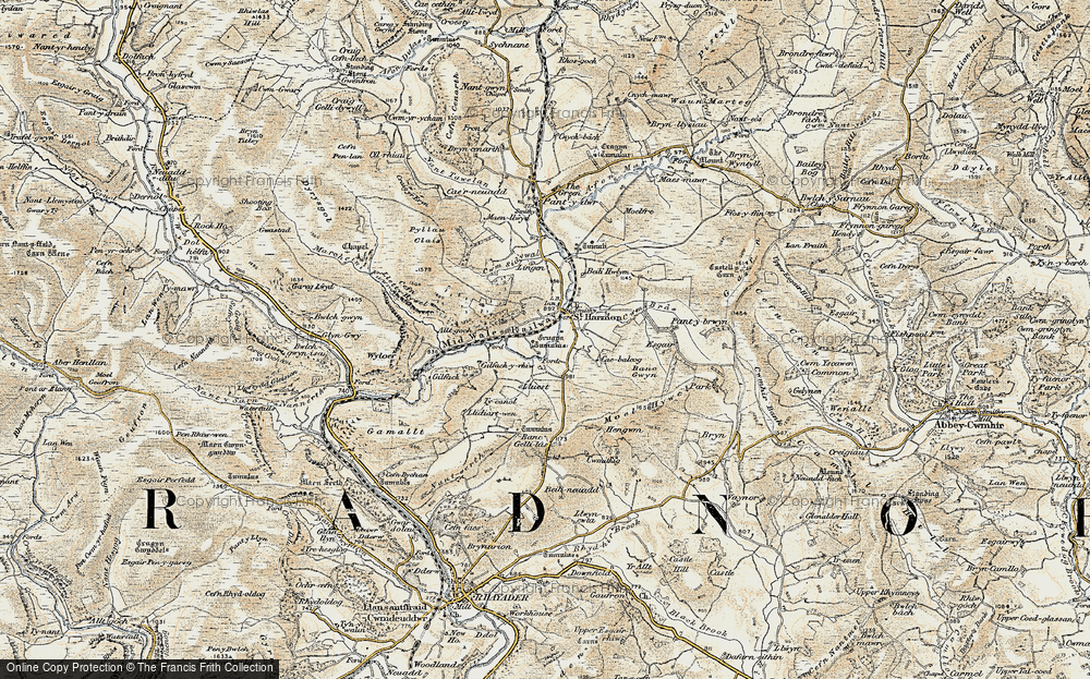 Old Map of Historic Map covering Banc Gwyn in 1901-1903