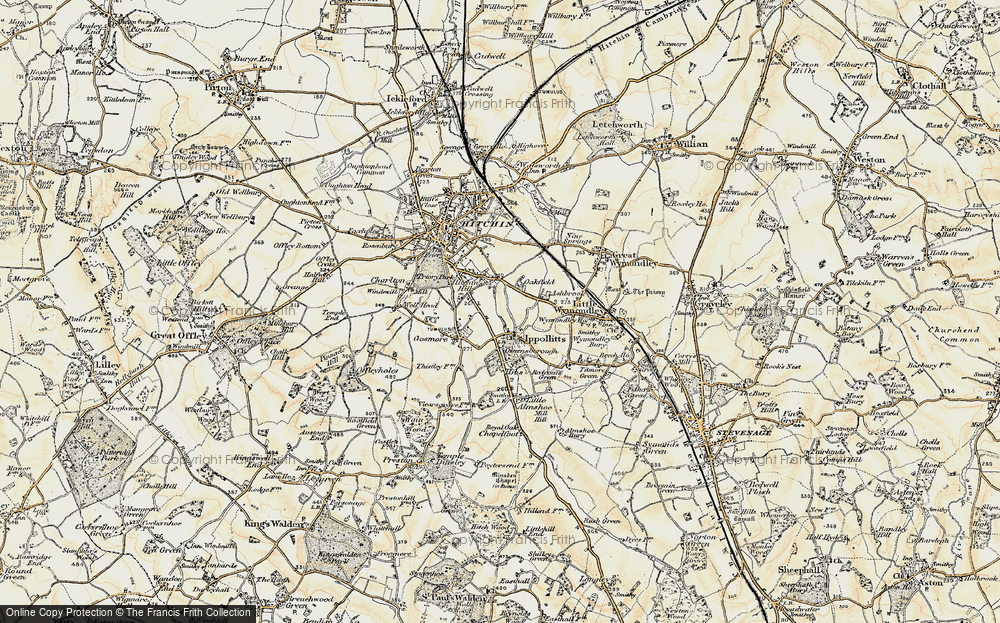 Old Map of Historic Map covering Ashbrook in 1898-1899