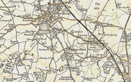Old map of St Ippolyts in 1898-1899