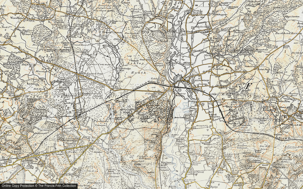Old Map of Historic Map covering Avon Heath Country Park in 1897-1909
