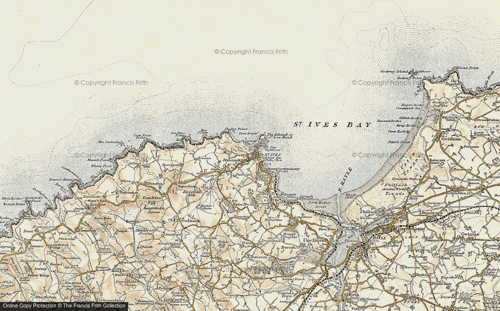 Old Map of St Ives, 1900 in 1900