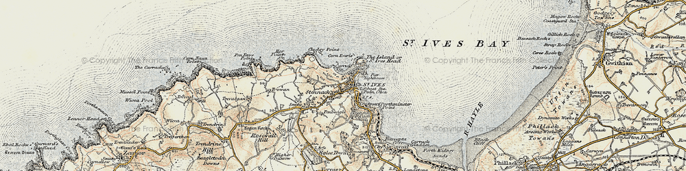 Old map of St Ives in 1900