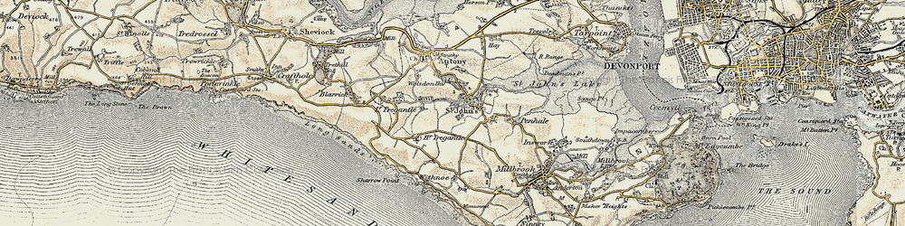 Old map of Withnoe Barton Fm in 1899-1900
