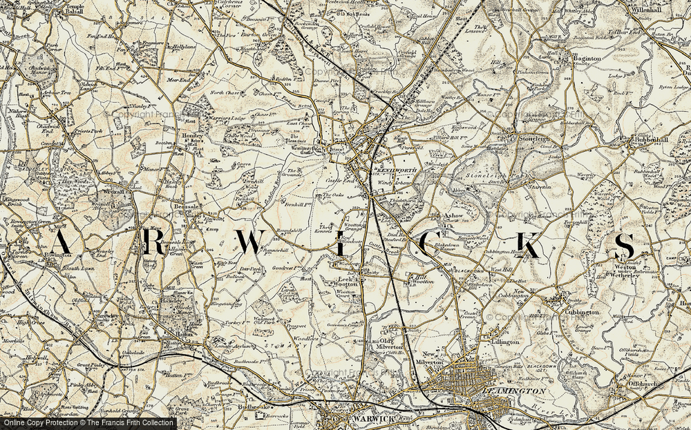 Old Map of Historic Map covering Warwickshire in 1901-1902