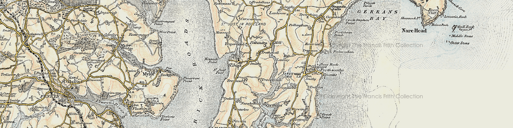 Old map of St Just in Roseland in 1900