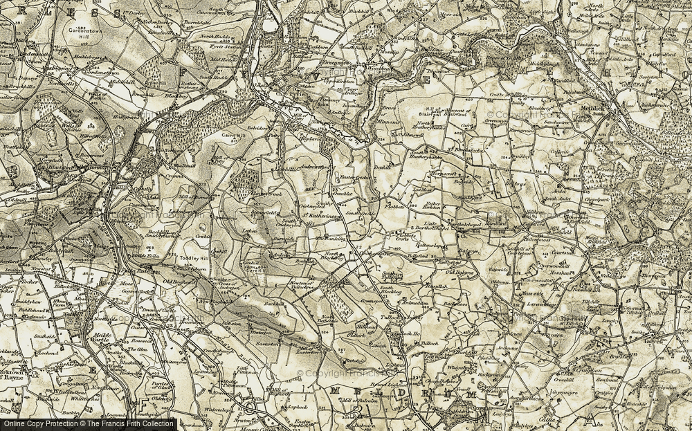 Old Map of Historic Map covering Auldkirk in 1909-1910