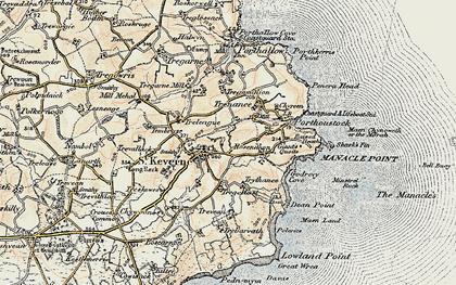 Old map of St Keverne in 1900