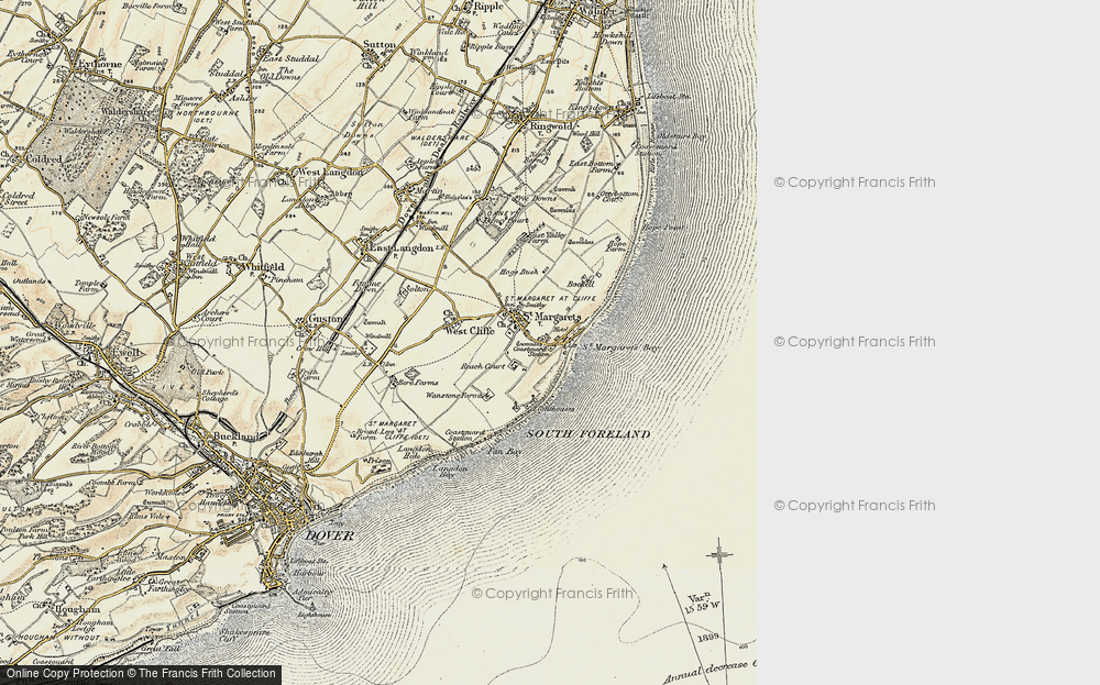 Old Map of St Margaret's at Cliffe, 1898-1899 in 1898-1899