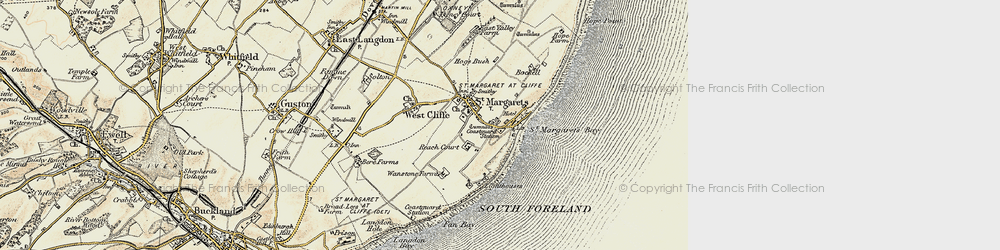 Old map of St Margaret's at Cliffe in 1898-1899