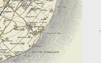 Old map of St Margaret's Bay in 1898-1899