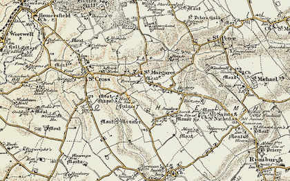 Old map of St Margaret South Elmham in 1901-1902