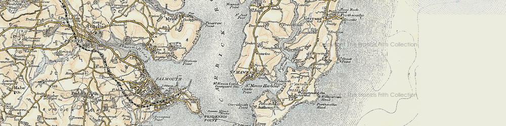 Old map of St Mawes in 1900