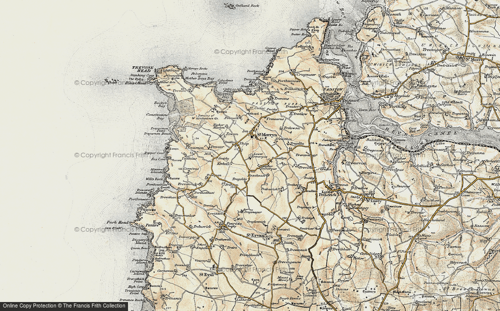 Old Map of St Merryn, 1900 in 1900