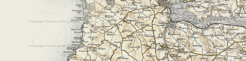 Old map of St Merryn in 1900