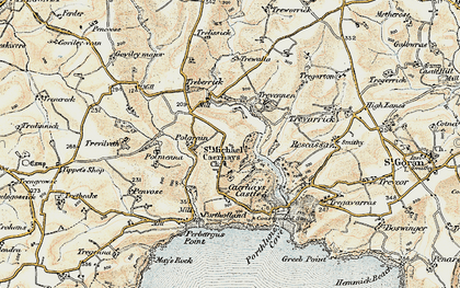 Old map of St Michael Caerhays in 1900