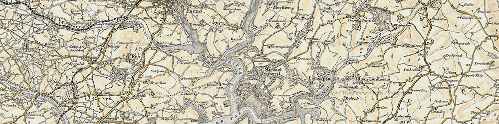 Old map of St Michael Penkivel in 1900