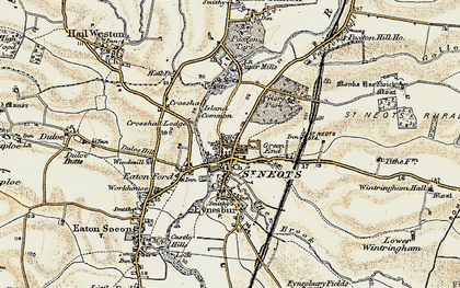 Old map of St Neots in 1898-1901