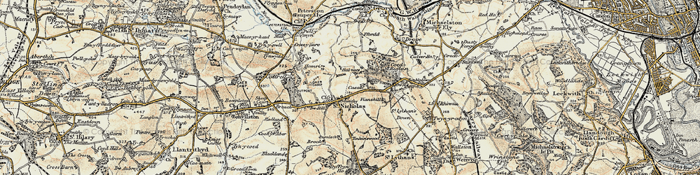 Old map of Tinkinswood in 1899-1900