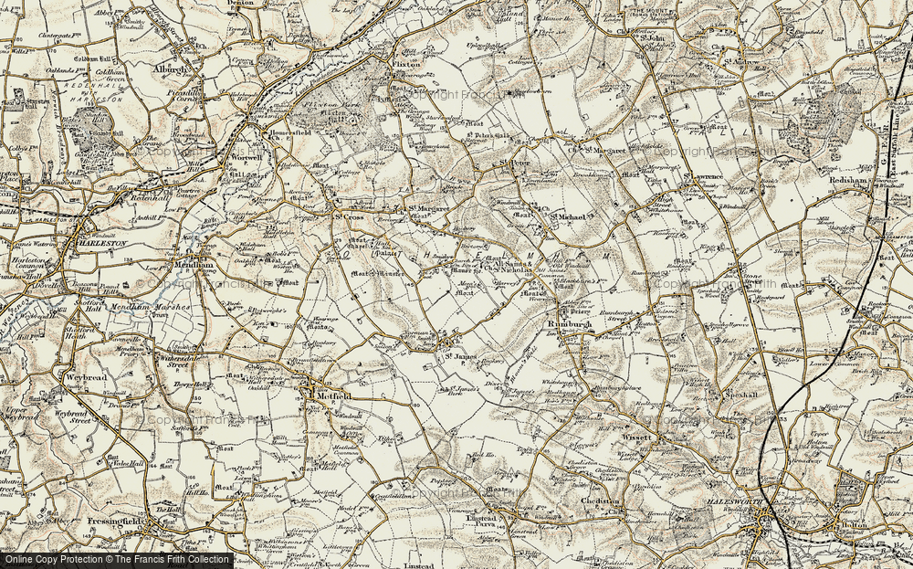 Old Map of St Nicholas South Elmham, 1901-1902 in 1901-1902