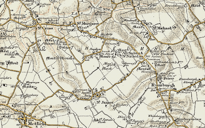 Old map of St Nicholas South Elmham in 1901-1902
