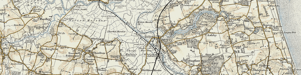 Old map of St Olaves in 1901-1902